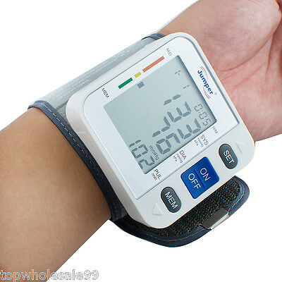 Automatic Digital LCD Wrist Blood Pressure Pulse Rate Monitor High Switch Health
