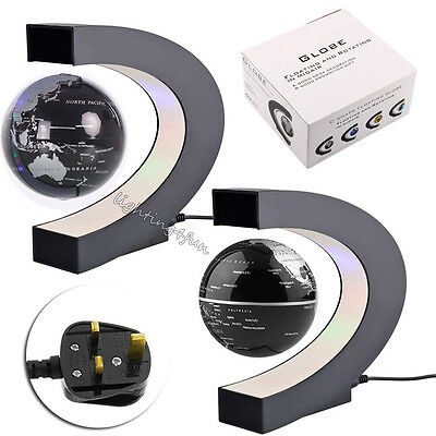 C-shape LED World Map Floating Globe Magnetic Levitation Light Antigravity Craft