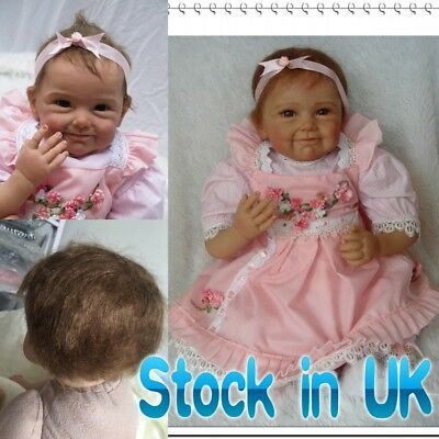 "22"" Lifelike Silicone Reborn Baby Doll Pink Dress Smile Baby Gift For Child"