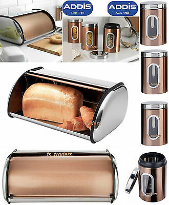 Addis Copper Stainless Steel Bread Bin Tea Coffee Sugar Jars Storage Canisters