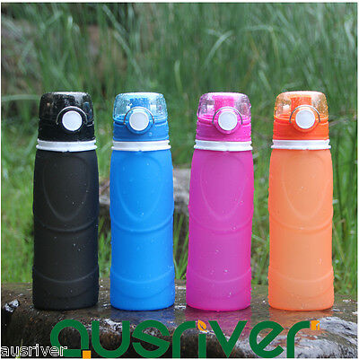 750ml Collapsible Folding Silicone Water Bottle Leakproof Travel Sport Outdoor