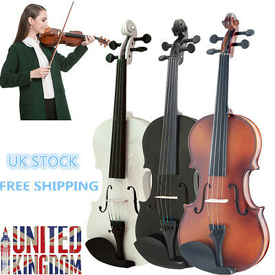 Perfect Music Natural Acoustic Wood Violin Fiddle with Case Bow Size 3/4 HOT UK