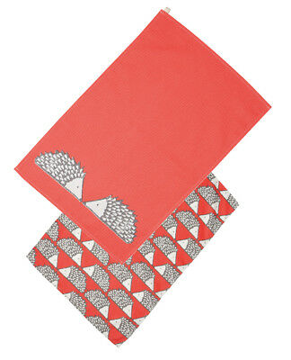 Scion Dexam Spike Hedgehog Set of 2 Tea Towels Red Kitchen Drying Cloth Cotton