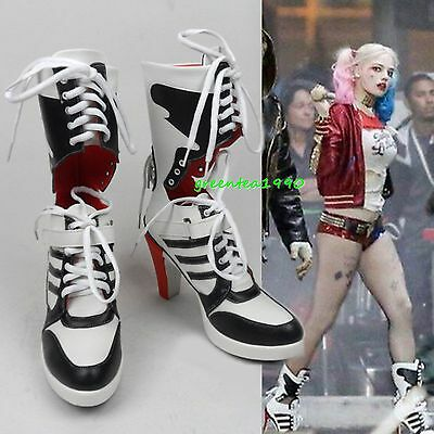 DC Cosplay Harley Quinn Highheels Boots Suicide Squad Costume Halloween Shoes UK