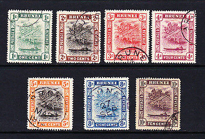 BRUNEI 1908-22 SET TO 10c BETWEEN SG 34-42 FINE USED.