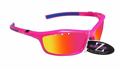 RayZor Uv400 Pink Vented Pink Mirrored Lens Archery Wrap Sunglasses RRP£49