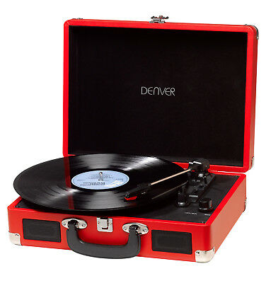 Record Player Red Denver Attache Case Turntable 3 Speed USB Transfer Portable