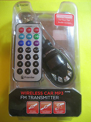 WIRELESS CAR MP3 FM TRANSMITTER with REMOTE, USB, 4GB SD slot, LCD, 3.5MM jack!