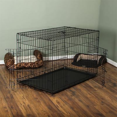 Pet Cage Dog Cat Puppy Training Folding Crate Animal Transport 48 Inch Metal