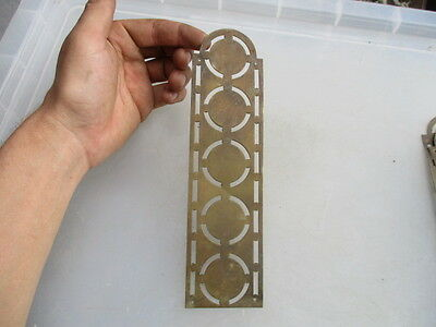 Vintage Brass Finger Plate Push Door Handle Art Deco Pierced Architectural Old