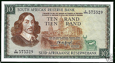 South Africa P113c 1975 10 Rand Crisp Uncirculated-Lovely!