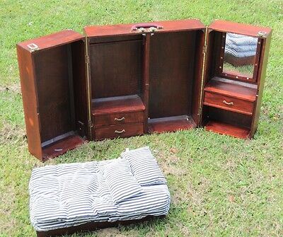 RARE Large American Girl Wardrobe Chest Bed Mattress Mirror Cherry Wood Trunk