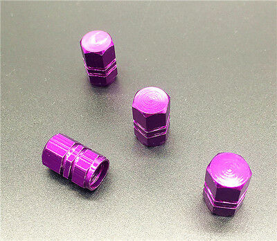 4PCS  purple Aluminum Tire Wheel Rims Stem Air Valve Caps Tyre Cover Car