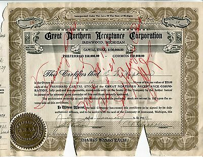 Ironwood, MI, Great Northern Acceptance Corp., 10 Shares, 1929 E. W., Hopkins
