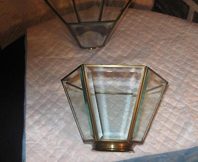 Vintage shades Brass and beveled Glass 6 sided many uses lot of 2