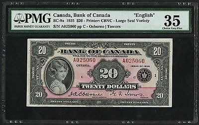 "CANADA #BC-9a $20 1935 ""ENGLISH"" OSBORNE / TOWERS PMG 35 CHOICE VF WLM1733"
