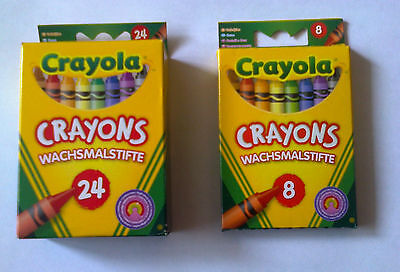 Crayola 8 OR 24 Assorted Wax Crayons Colouring Crayons 0008 and 0024