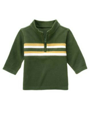NWT Gymboree RODEO COWBOY Green Ribbed Knit 1/4 Zip Chest Striped Top Shirt
