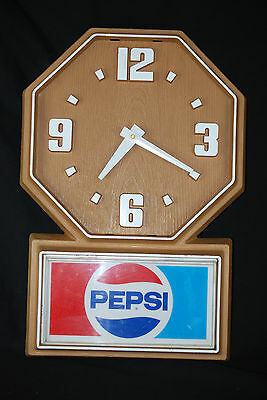 Vintage Pepsi-Cola Quartz Wall Clock Faux Wood Working order No Battery included