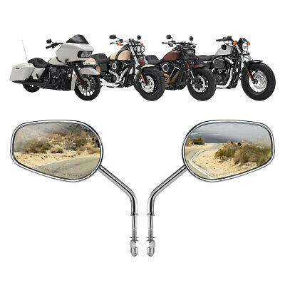 Chrome Rear View Mirrors For Harley Dyna Sportster XL Softail Road King Classic