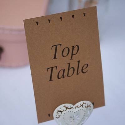 Heart Brown Kraft Wedding Table Numbers Top Table 1 - 15 Rustic Style Party