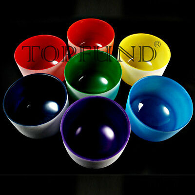 Chakra Tuned Set of 7 Colored Frosted Quartz Crystal Singing Bowls All 8 Inch