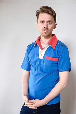 Vintage retro unused S mens cotton knit body bowling shirt polo blue red NOS