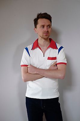 Vintage retro unused S mens cotton knit body bowling shirt polo white red NOS