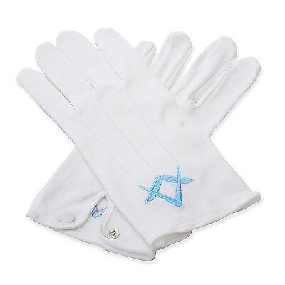 Two Pairs of Quality 100% Cotton White Masonic Sq & Compass Gloves