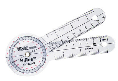 "Plastic Goniometer - HiRes 360 Degree Head - 6"" Arms  25 PK"