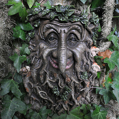 LARGE Wise Tree Man Garden Wall Plaque GreenMan Ornament Sculpture NEW 39675