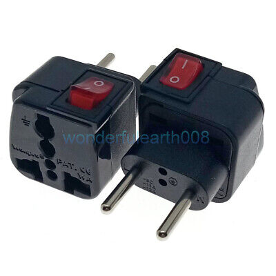 Universal to Europe EU 2 Pin Electrical Plug Travel Adapter 3 Way Multi Outlet