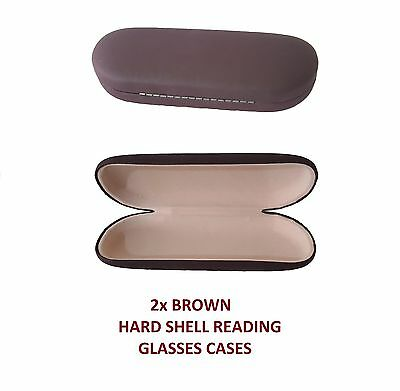 2x BROWN Glasses Case Hard Spectacle Velvet Lined Sunglasses Reading Pouch
