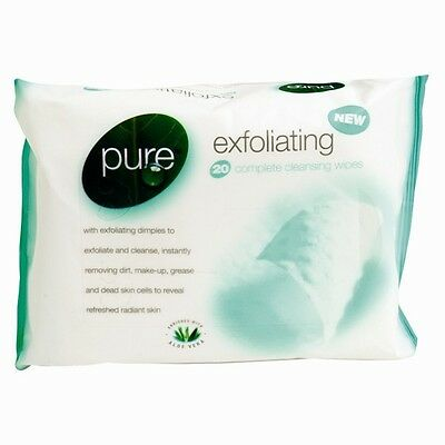 25 x Pure Exfoliating Wipes Cleansing Makeup Fights Acne Spots Grease Bad Skin