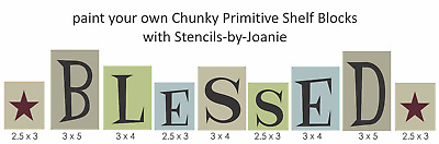 Stencil You Paint Blessed Stars Chunky Blocks Country Family Prim craft signs