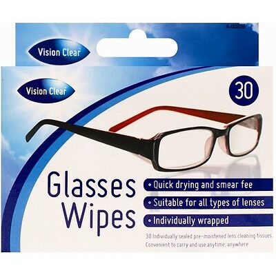 30 x Pre-Moistened Optical Lens Wipes Sunglasses Smear Free Spectacle Glasses