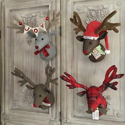 Christmas Reindeer Head Wall Sculpture Decoration Fabric Stag Vintage Retro