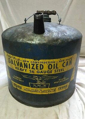 Vtg Galvanized Oil Gas Can-5 gallon -Eagle Brand-1940's 26 Gauge Steel. No 405