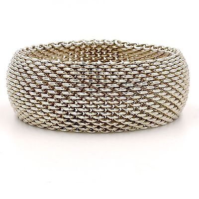 Authentic Tiffany & Co. Somerset Wide Bangle Mesh Bracelet in Sterling Silver