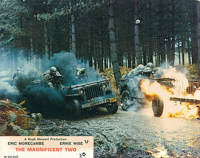 The Magnificent Two Original British Lobby Card Morecambe And Wise Jeep Explode