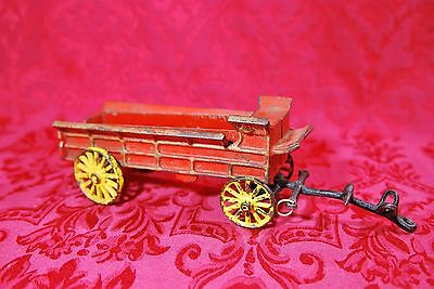 Early 20th Century Heavy Vintage Cast Iron Red & Yellow Wagon Horse Drawn Toy