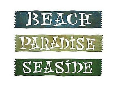 """Choice Of 3 Metal Beach Signs Distressed Paint Paradise Seaside Sign 21"""" X 4"""""""