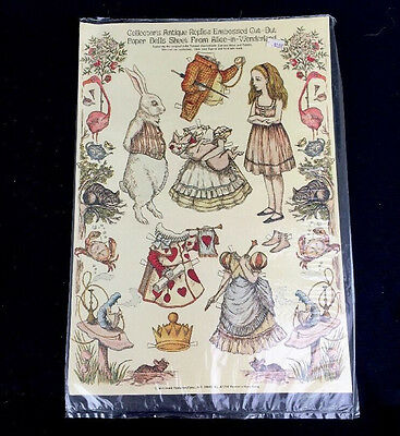 Collector's Antique Replica Paper Dolls From Alice In Wonderland Sealed Uncut
