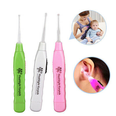 2pcs Ear-pick Ear Wax Cerumen Remover Cleaner Curette With LED Flashlight Light