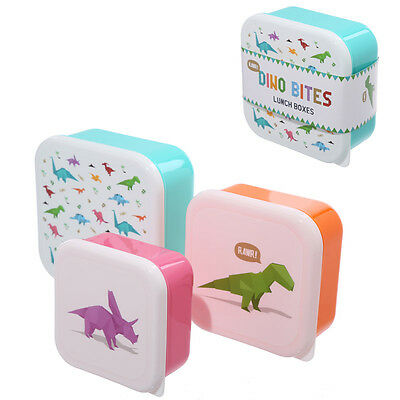 Fun Dinosaur Design Set of 3 Plastic Lunch Boxes