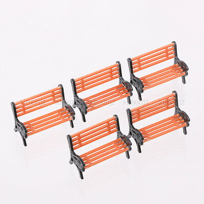 Set of 5pcs Model Bench Chair 1:30 Scale Garden Park Scenery Layout