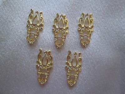 5 Large Goldtone Filigree Shapes Flat Backs