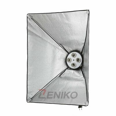 "4in1 E27 Socket Lamp Head Holder+50x70cm/20x28"" Studio Photo Softbox Kit 220V"