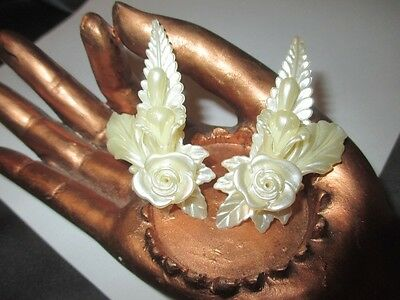 Rose & Trumpet Lily Pearl Lucite Huge Earrings Updo Hairdo Caress Your Outer Ear