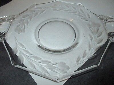 Hughes Cornflower Bud Etch Decagon Glass 2 Handle Plate Liner To Dip Compote